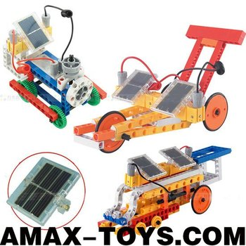 se-067602 solar toys brick Hot sell solar power plastics toys brick 381pcs (create 12 models)