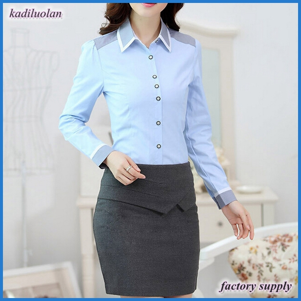 Women long sleeve dress shirt office uniform ladies blouse with OEM service