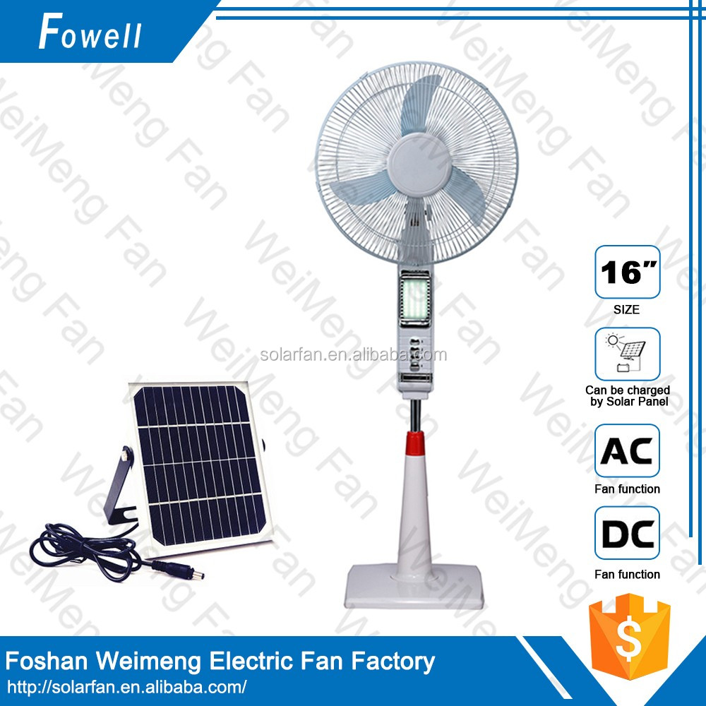 16inch Rechargeable stand fan/lithium battery DC12V solar fan with LED light Model:MD-412