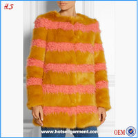 Woman wear clothing manufacturer winter fashion good quality women winter coats mustard and bubblegum faux fur coat