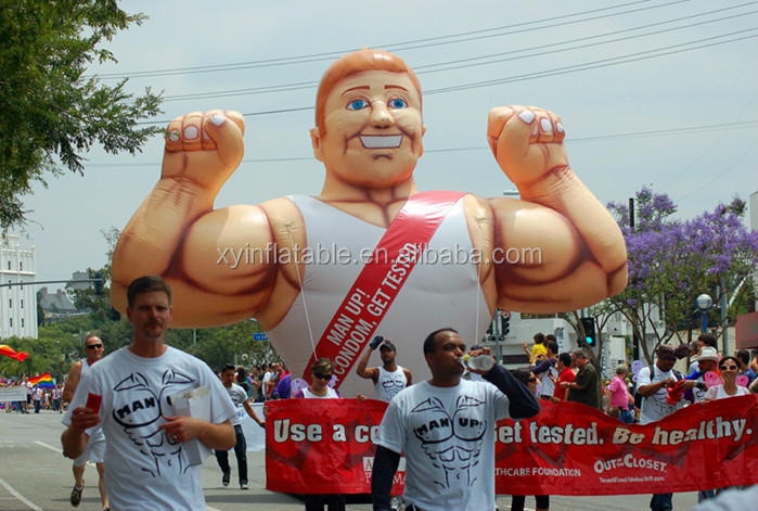 giant inflatable muscle man advertising man