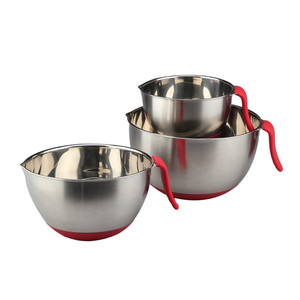 Stainless Steel Mixing Bowl set with Lids, Good Grip Long Handle