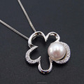 New Design Freshwater Pearl Necklace Jewelry With CZ Flower Shape 925 Sterling Silver Jewelry DR032523P