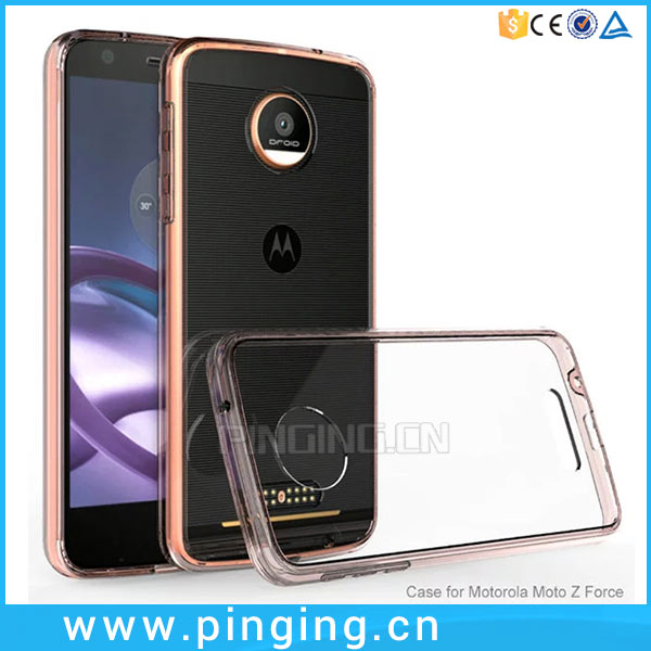 Candy Color TPU Bumper Cover Acrylic Crystal Clear Case For Motorola Moto Z Force