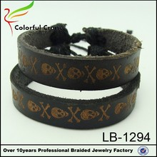 China supplier wholesale fashion jewelry unisex leather cuff bracelet