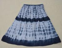 Womens Bohemian Long Skirts, Casual Elastic Waist Linen Plus Size A Line Skirt With Tie Dye