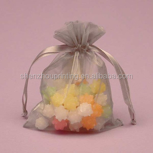 New fashion wholesale custom design satin drawstring flowers candy gift use packing wedding decoration organza bag