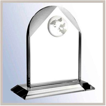 Wholesale Cheap 3D Laser Engraved Crystal Mini World Globe Block In 3 Sizes Crystal Globe Plaque