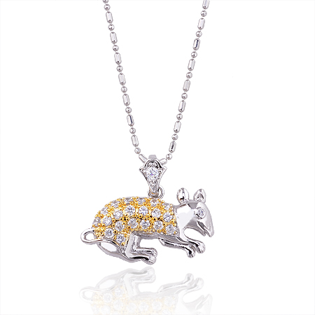 30810 Girls loved cute animal pendant copper alloy pendant with white stone