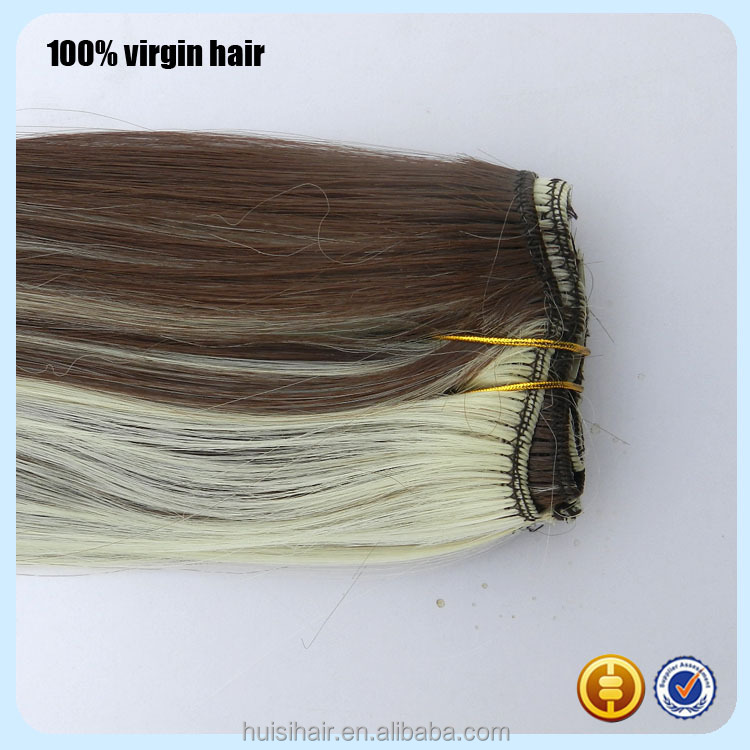 2016 Hot Sale 100% Human Hair Indian Hair African American Piano Color Clip On Hair Extension