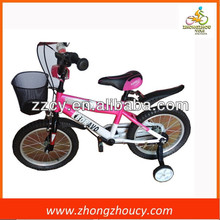 Pink color kids bycicle with black steel wire basket in 12 inch