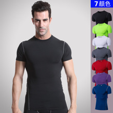 2017 custom men's gym wear fashion quick-dry high elastic o-neck tight T-shirt