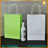 Different color plain white Kraft Paper Bag A4 Size with paper rope handle