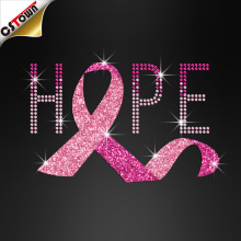 Fancy hope pink breast cancer ribbon glitter iron on transfer