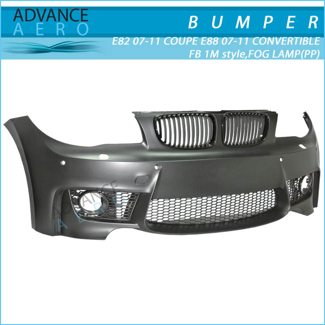 FOR 2007-2014 BMW E88 1-SERIES CONVERTIBLE 1 M STYLE PP POLYPROPYLENE FOG LAMP FRONT BUMPER