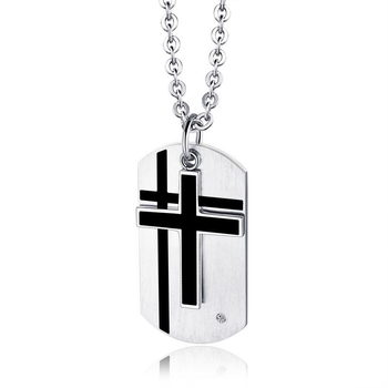 Titanium Steel Simple Cross Necklace Pendant Stainless Steel Jewelry Men's Necklace