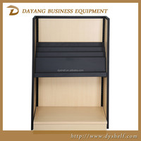 Wood and Metal Magazine Rack Book Display Shelf Catalog Standing display