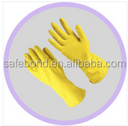 Cotton lined Colored Latex Household Gloves, yellow Rubber gloves