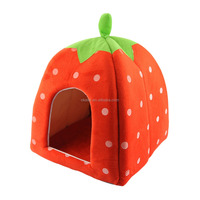 Foldable Pet Dog Cat Sponge House Tent Bed, Red Strawberry Shape Warm Kennel size S