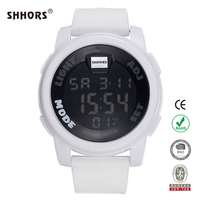 SHHORS waterproof round digital silicone bracelet watch