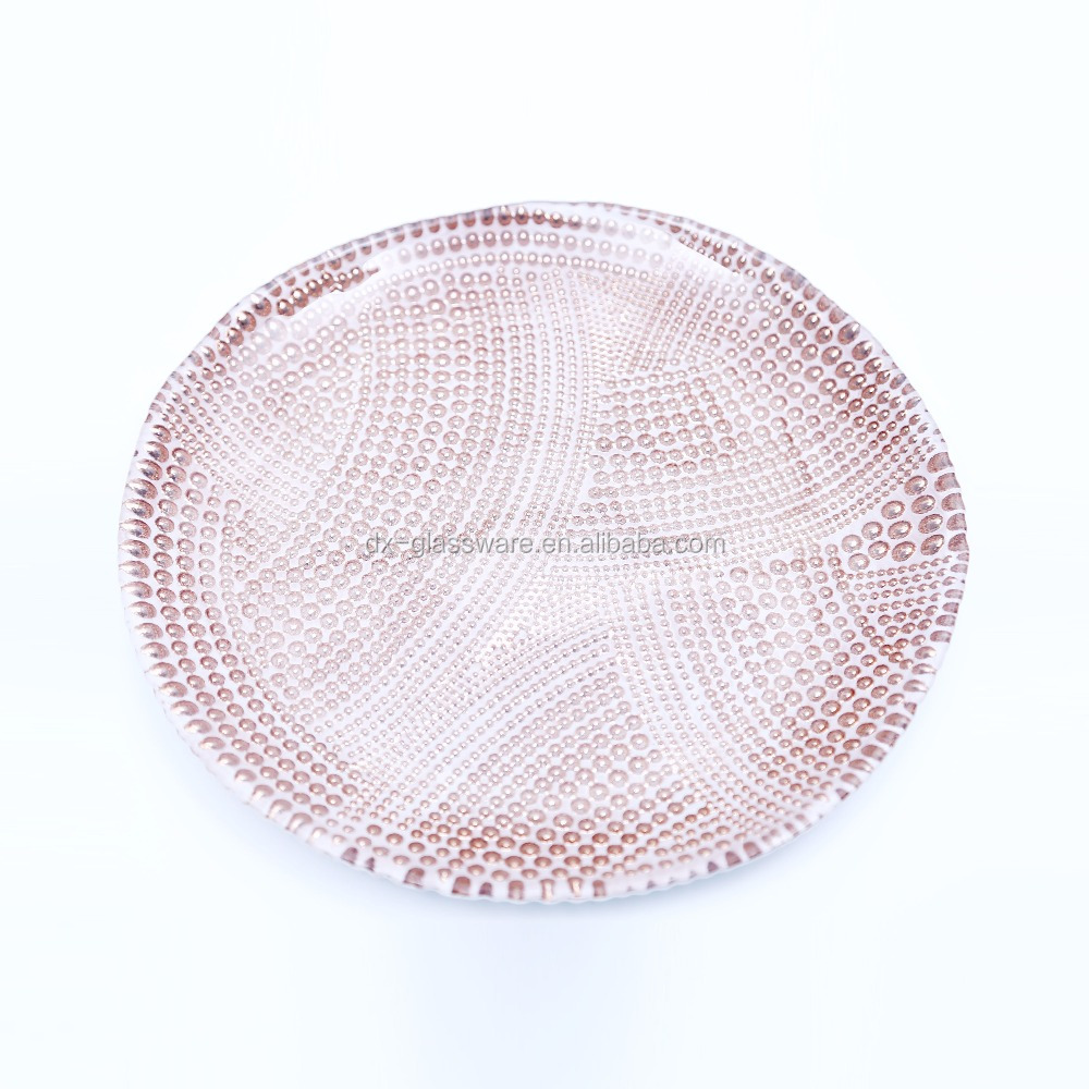 wedding gold beaded glass charger plates wholesale
