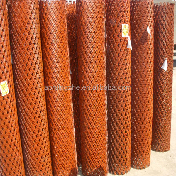 Anti-corrosion red color Antirust paint plate net/durable expanded metal mesh