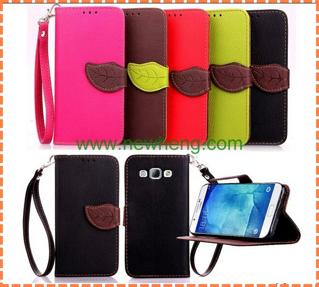 Fashionable Cute Leaf Flip Wallet Leather Case with Hand Strap for samsung A8
