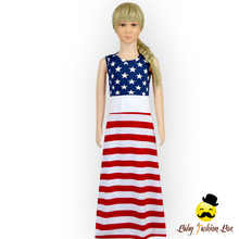 American Flag Patterns 4th Of July Simple Patriotic Dresses Girls Long Maxi Dress