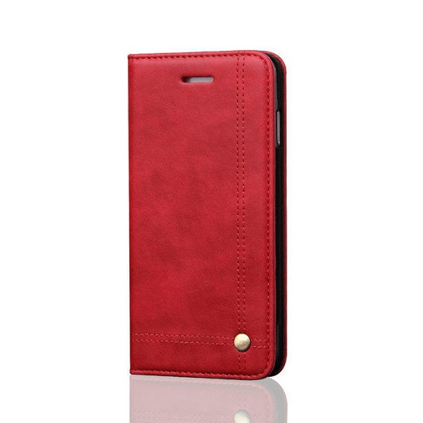 No Belt Rivet Strong Magnet Luxury PU Leather Mobile Phone Flip Case for iPhone 7 , Factory In Stock Amazon Hot Sale