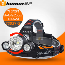 T3039-2 1200 1800 6000 Lumen XML T6 USB Waterproof Rotate Zoom Led Rechargeable Headlamp