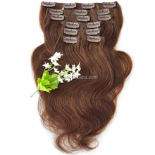 Thick end medium brown body wave clip in remy human hair extensions different color available