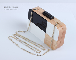 Classical style Evening party bags wooden material clutch bags