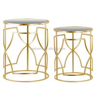 Metal Round Nesting Accent Table with Mirror Top and Round Base Set of Two Metallic Finish Gold