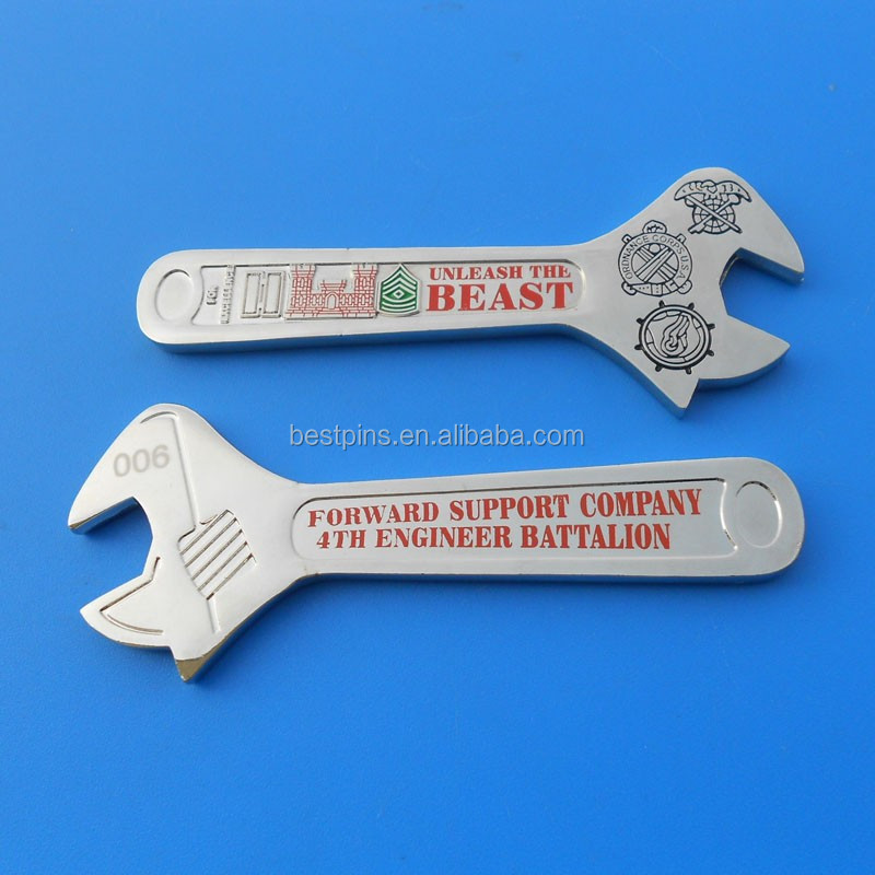2016 Customized BESAT Die Struck Metal Wrench Shape Bottle Openers