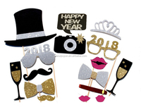 Funny 2018 Happy Eve New Year Paper Photo Booth Props