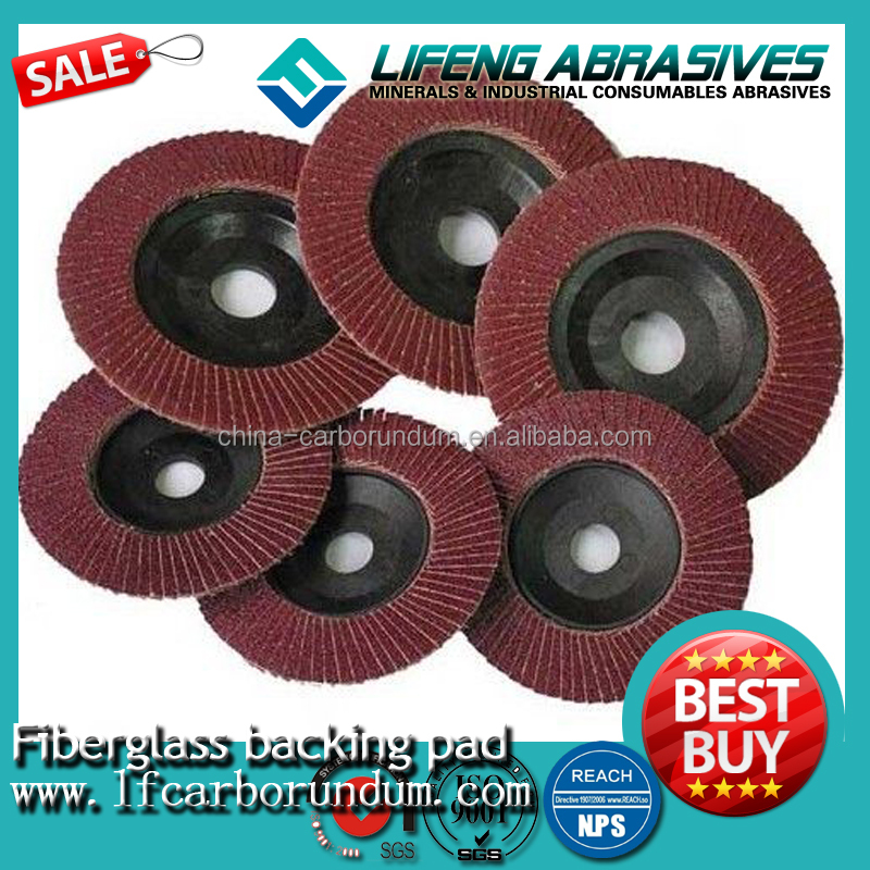 Faster grinding flap disc/Fiberglass backing pad/flap disc for non-ferrous metals such as aluminum