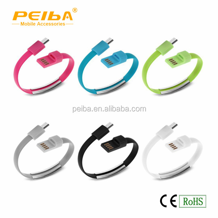 Bracelet flat phone charging 2.0 usb shielded high speed sync cable high end usb cable