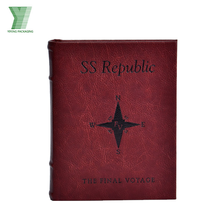Custom Design Fake Book Style PU leather packaging box wholesale