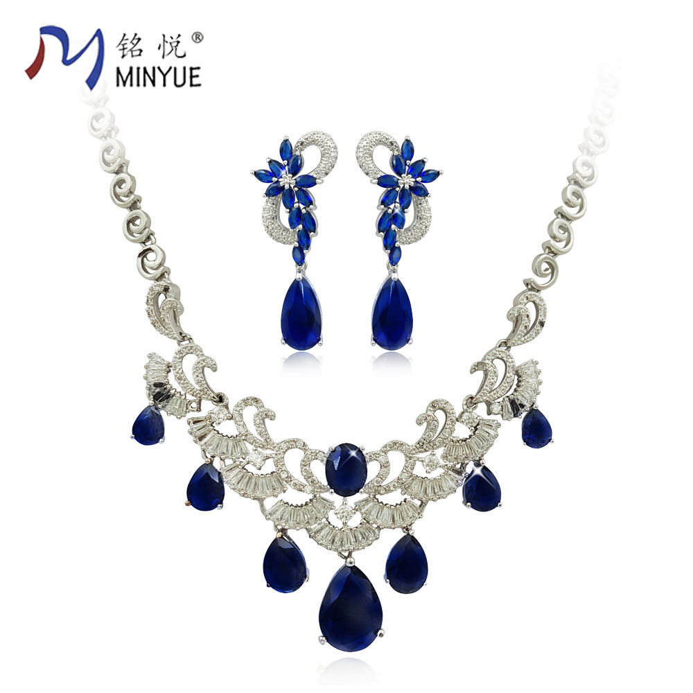 Fashion jewelry set 2017 new style blue crystal necklace earrring set for women