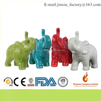 34490-AST Ceramic Standing Trumpeting Elephant Figurine Assortment of Four Assorted Color Gloss Finish