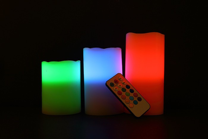 Wholesale 18 key color change paraffin candle wax led decoration candle led wax candle