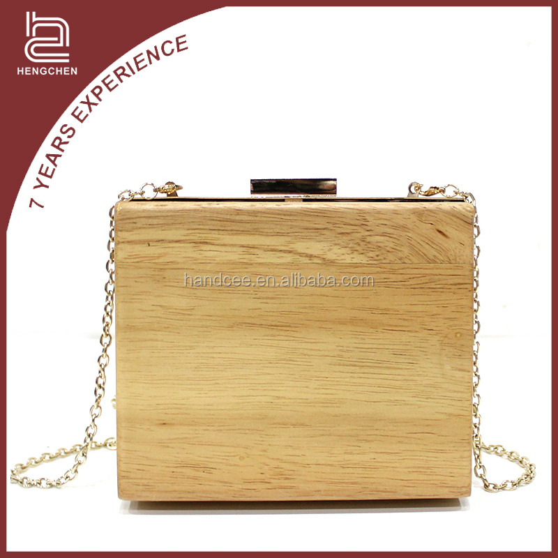 Fine in workmanship koean style cream-coloured wood clutch bag online