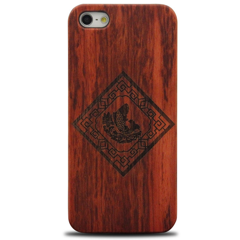 Unique design laser engraving wood phone case for apple iphone 5 5S