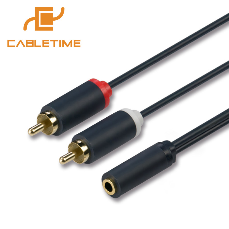Aux Cord 2RCA Male To Female Cable Stereo Audio Splitter Adapter 3.5mm Jack
