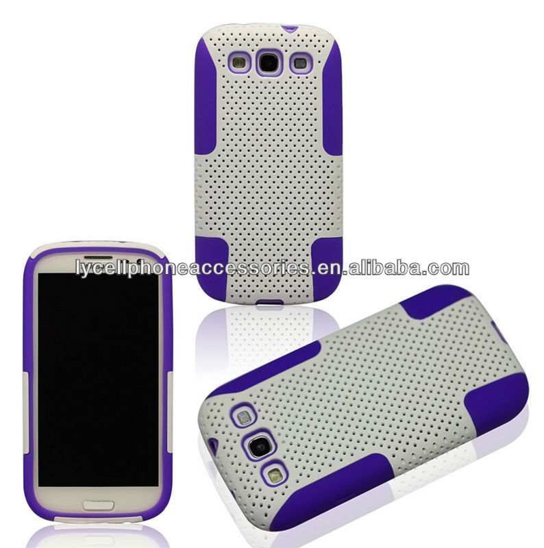 For SAMSUNG Galaxy S3 III i9300 Silicon Case+Rubberized MESH Combo Hard Shell Case Cover Phone Protector Faceplate - Red MES