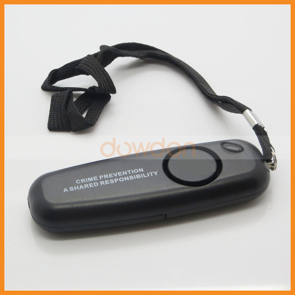 Manufacturer OEM Rectangle Black Personal Alarm with LED Light Belt Support Print Logo Package