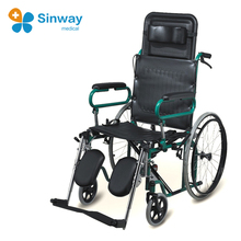 Reclining high back manual wheelchair with movable armrest