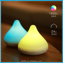 Latest design silicone water drop shape led coloful light stereo music lamp bluetooth speaker