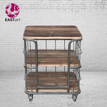 Industrial style Iron wood furniture 3 layer display shelf With wheels