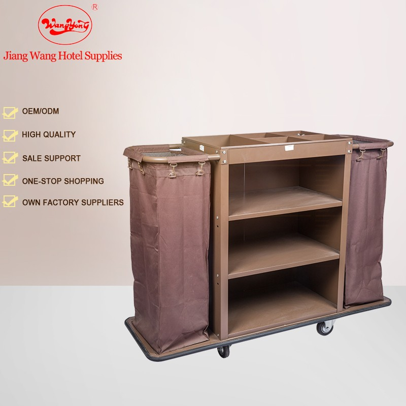 Hotel Room cleaning service Housekeeping trolley with 6 inch wheel